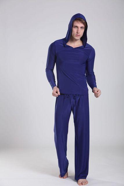 Confortável tops + calças dos homens causal com capuz Homens Sleepwear Salão Pijamas Set Noite Roupa De Banho 62609