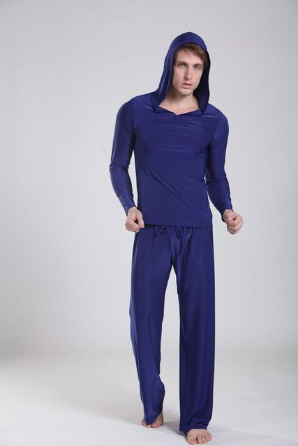 Men's comfortable tops+pants causal hooded Sleepwear Men Lounge Pyjamas Set Night Bath Clothes 62609