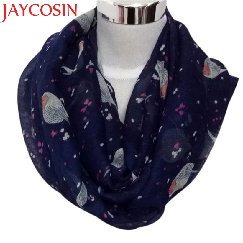 JAYCOSIN New Fashion Women Lady's Fashion Birds Print Scarf Round O Ring Neck Soft Voile Scarves Dec15 Drop Shipping