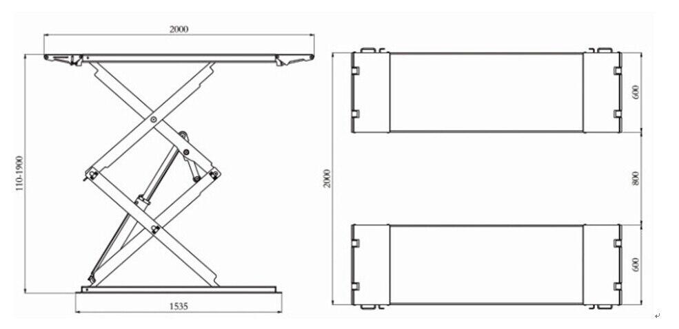 Ультратонкие Scissor автомобильный подъемник L3000