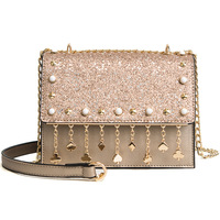 women crossbody sparkle sequins bags small tassel bag chain pendant bling lady bags