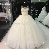 Gorgeous Vestido De Renda Pearls Beaded Puffy Ball Gown Princess Style Real Pictures Wedding Dresses 2015