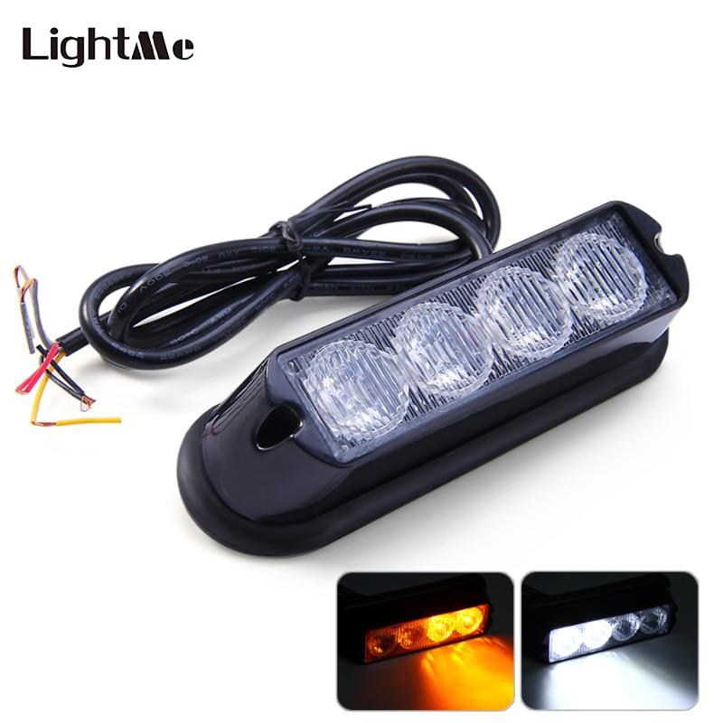 12V 4W 4 LEDs Car Truck Emergency Strobe Flash Light - Amber White Light IP65 Water Resistant Truck Lamp