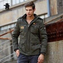 2017 Новый мужской Равномерное Руно Парки Мода Вышивка Капюшоном Плюс размер Thicked Воздуха Пилот Куртка Пальто Для Мужчин Тянуть Homme D20F9935