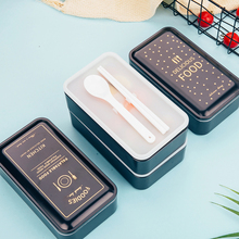 1200ml Lunch box double-layer Portable Bento Eco-friendly Food container with compartments Leakproof Microwavable