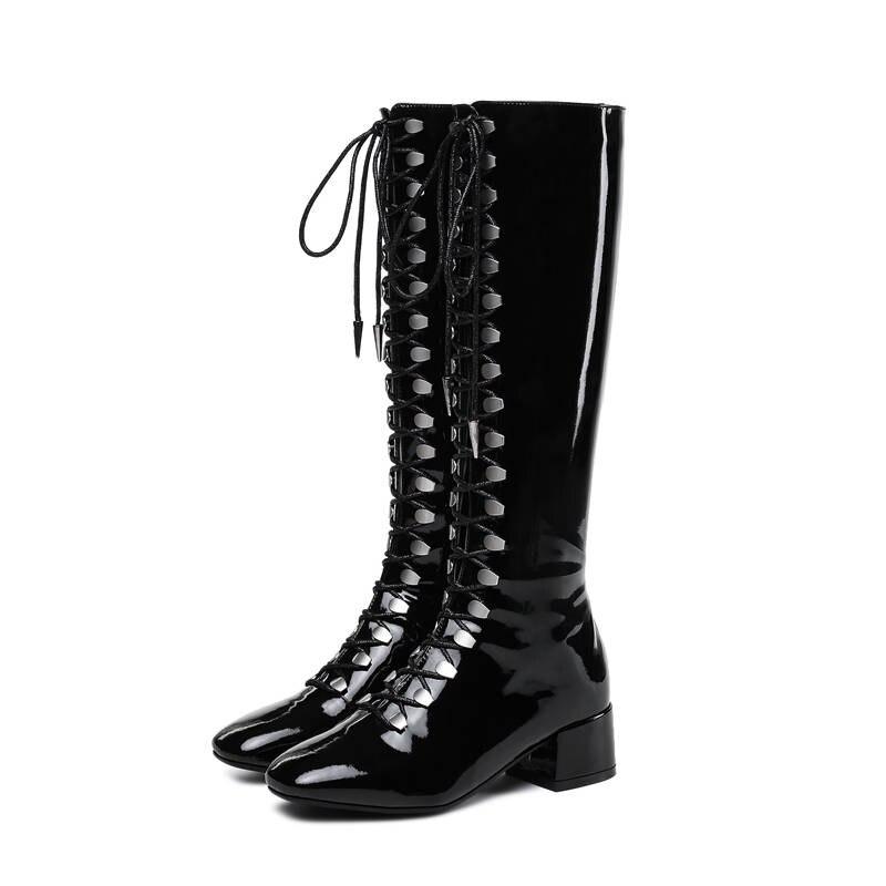 Ayakk.'ten Diz Hizası Çizmeler'de MORAZORA 2020 yeni stil diz yüksek çizmeler kadın dantel kadar + zip punk patent deri bayan botları kare ayak sonbahar çizmeler rahat ayakkabılar'da  Grup 3