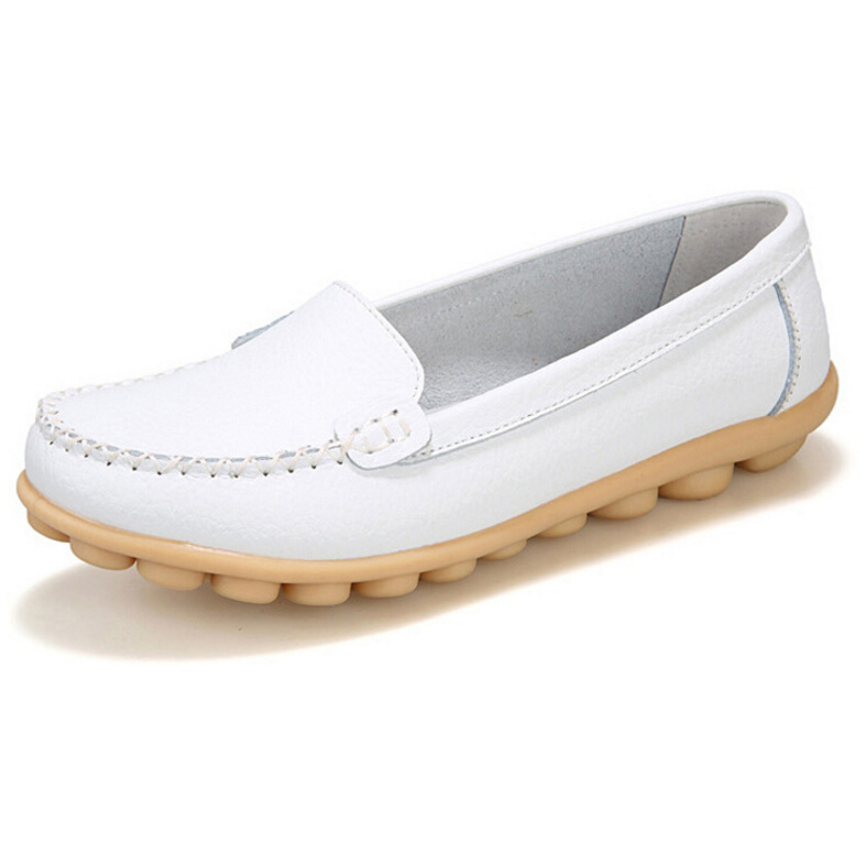 2017Spring summer Shoes Woman Genuine Leather shoes Women Flats Loafers soft moccasins Slip On Women's Flat Shoes Plus size 41 flat shoes women pu leather women s loafers 2016 spring summer new ladies shoes flats womens mocassin plus size jan6