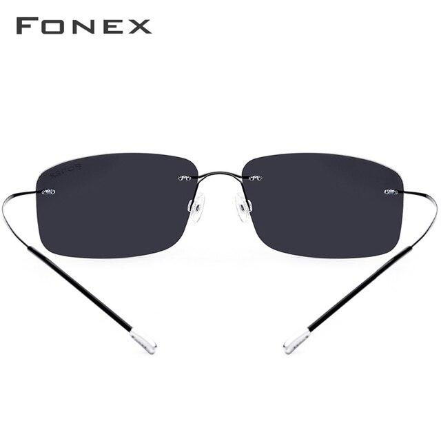 FONEX de aleación de titanio sin montura gafas de sol polarizadas hombres ultraligero sin tornillos sin marco cuadrado lentes de sol para dama 20007 5