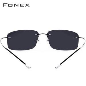 Image 5 - FONEX lunettes de soleil carrées sans vis, polarisées sans bords, en alliage de titane, pour hommes et femmes, ultraléger, 20007