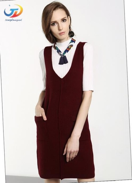 Red Sweater Dress with Vest
