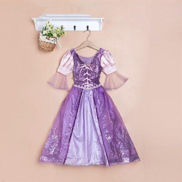 2019 Trẻ Em Vai Trò Chơi Dresses Màu Tím Rapunzel Trang Phục Halloween Trang Phục Trang Phục Miễn Phí Vận Chuyển Fantasia Vestidos