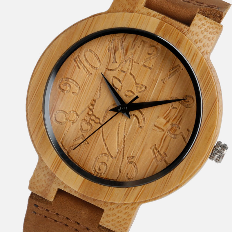 Vintage Wood Watch Bamboo Kvinnor Lovely Cat Casual Nature Bamboo Quartz Armbandsur Simple Creative Äkta Leather Band Clock