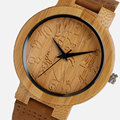 Vintage Wood Watch Bamboo Women Lovely Cat Casual Nature Bamboo Quartz Wristwatches Simple Creative Genuine Leather Band Clock
