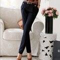2016 новая весна мода женские брюки прямые костюмы брюки для женской одежды больших размеров свободного покроя брюки темно-синий