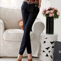 2016 nova primavera moda feminina calças retas ternos calças para roupas femininas tamanho grande calça Casual azul marinho