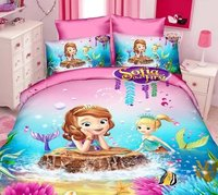 Sofia The First mermaid cartoon bedding sets Girls bedroom decor single twin size bed sheets quilt duvet covers 3pcs no filler