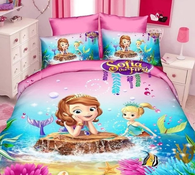 Sofia The First Mermaid Cartoon Bedding Sets Girls Bedroom Decor Single  Twin Size Bed Sheets Quilt