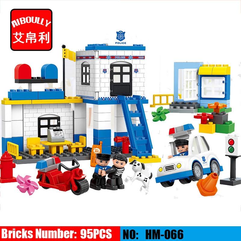 NOUVEAU HM066 95 pièces Modèles bâtiment Jouet éclairer les blocs bricolage jouets Jouets D'apprentissage Précoce pour Les Enfants Commissariat Blocs pour Duploe