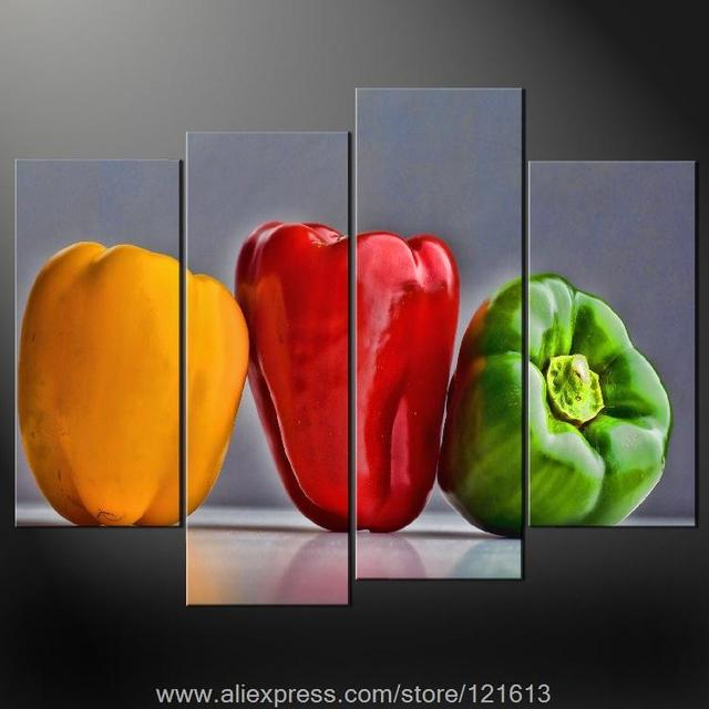 Peppers Kitchen Art Cascade Modern Many Sizes Free Postage Oil Painting  Africa Paintings Large Wall Painting