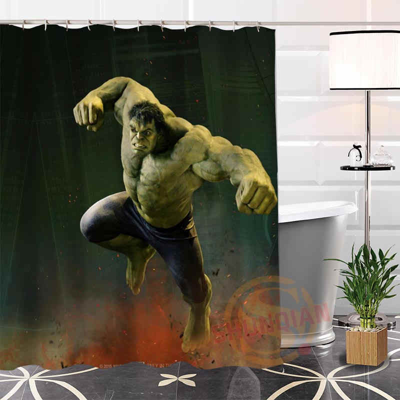הגעה חדשה חמה מודרנית Custom גיבורי מארוול @ 1 בד 100% פוליאסטר וילון מקלחת עמיד למים רחצה פופולרי H0223-61