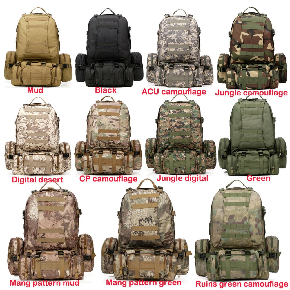 9 Warna Warna! Baru 50L Molle Tactical Backpack Assault Outdoor - Beg sukan - Foto 2
