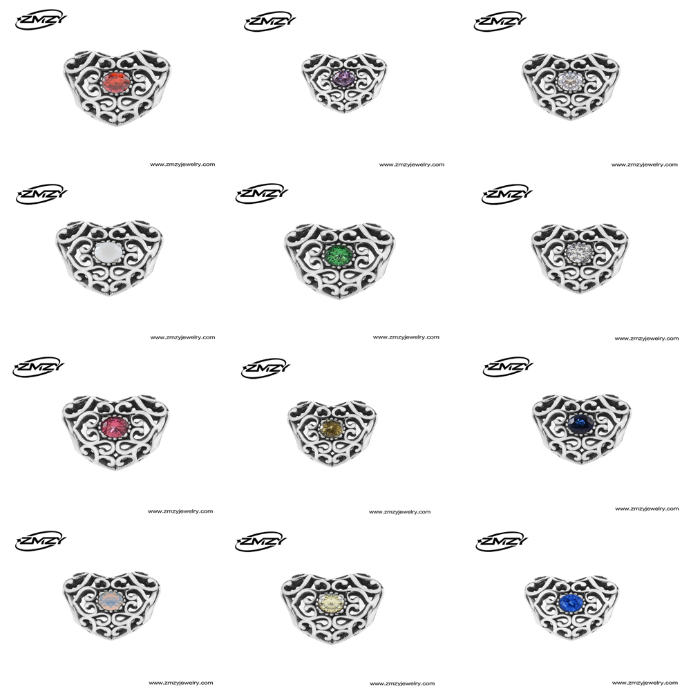 7c9e6dc86 ... spain zmzy jewelry april 925 sterling silver heart birthstone charms  beads fits pandora charms bracelet 12
