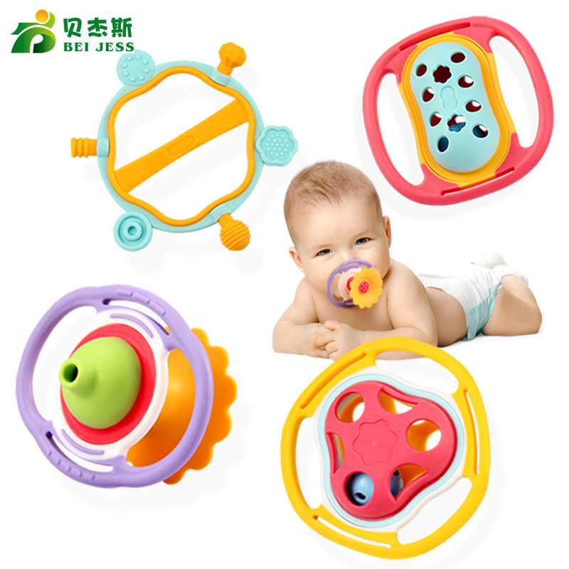 BEI JESS 1Pcs 0 - 12 months baby soft hand bell in bed mobile education newborn toy Rattle Gift hand in hand for education