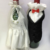 1Set Fashion Handmade High Quality Wine Glass Champagne Bottle Bride And Groom Costume Goblet Covers Wedding