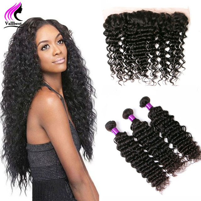 Peruvian Deep Wave With Closure Ear To Ear Lace Frontal With 3 Bundles Unprocessed Human Hair Lace Frontal With Bundle Full Lace