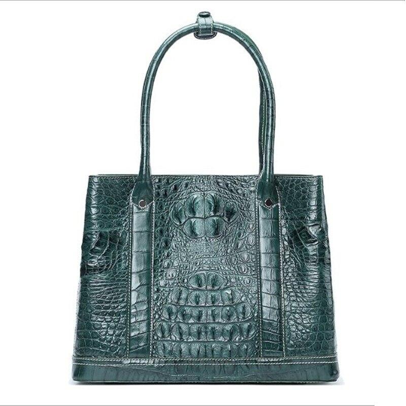 100% Genuine Alligator Leather Blackish Green Lady Soft Totes Bag Crocodile Skin Female Three-way Purse Women's Shoulder Bag цена
