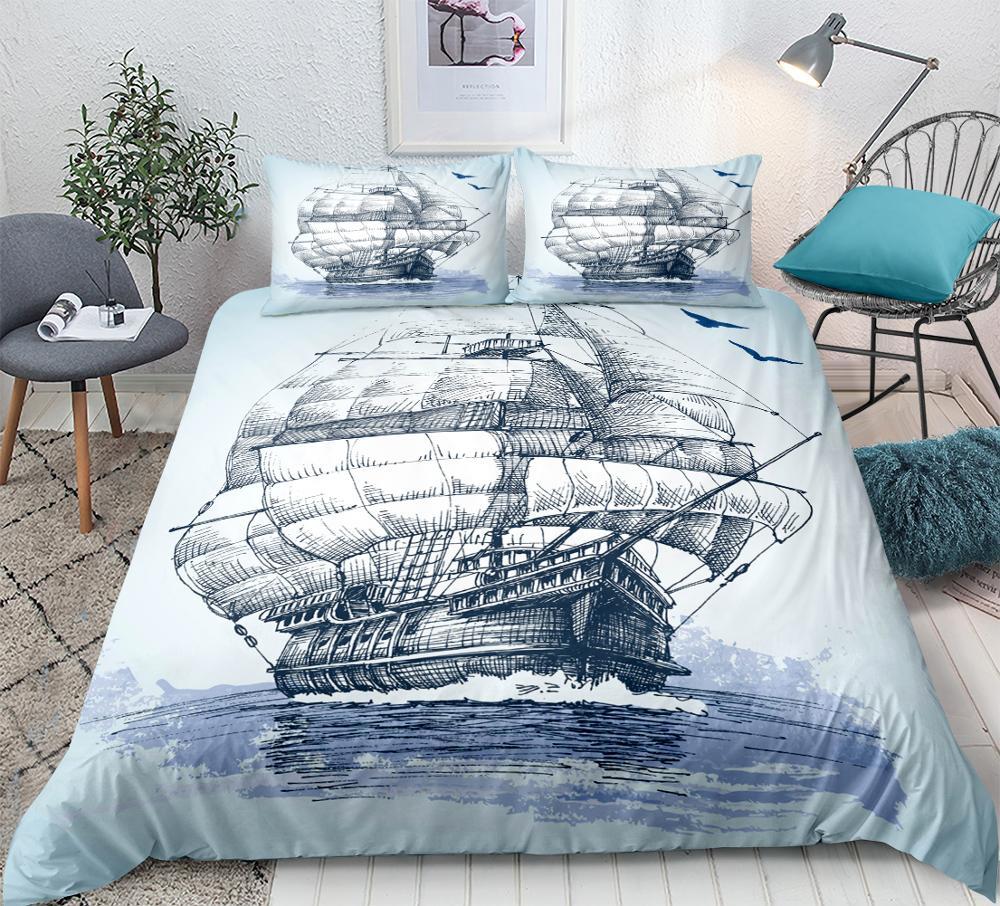 Sailboat Quilt Cover Set Queen Anchor Bedding Set Ocean Duvet Cover For Kids Bedspreads Nautical Decor Bed Line Hawaiian Summer