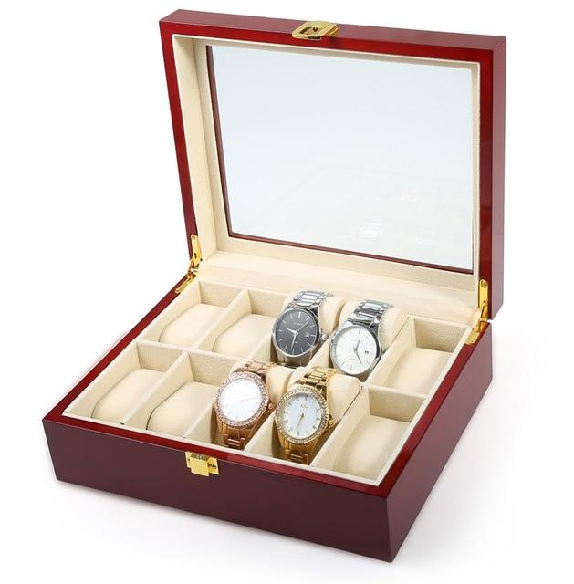 Wooden Watch Storage Case Metal Buckle Jewelry Display Box 10 Insert
