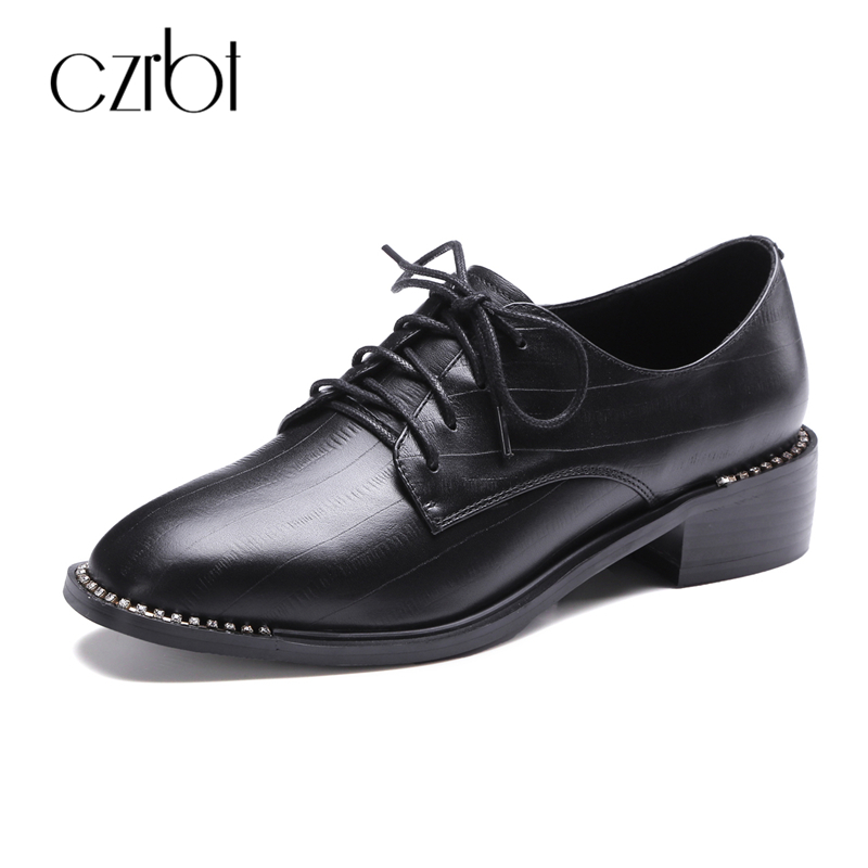 CZRBT Autumn Concise Women Oxfords Shoes Woman Square Toe Genuine Printed Leather Fashion Ladies Crystal Edge Derby Flats Shoes qmn women crystal embellished natural suede brogue shoes women square toe platform oxfords shoes woman genuine leather flats