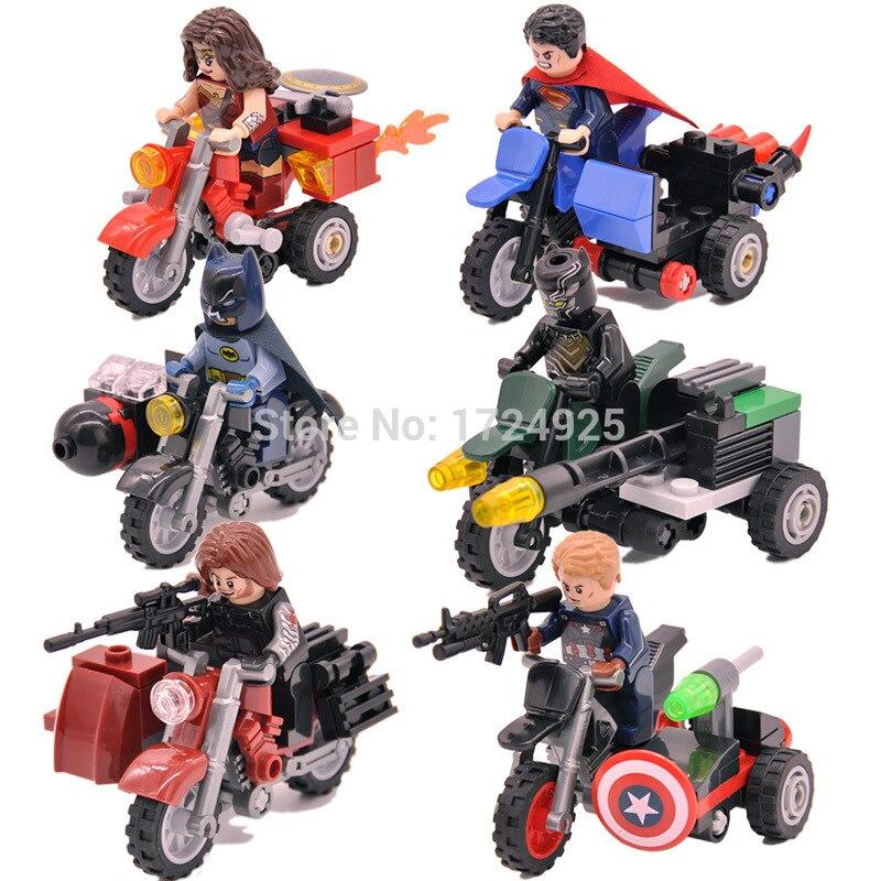 6 шт./лот супер герой цифра набор мотоциклы Капитан Америка Черная пантера Бэтмен чудо-женщина Building Block модели Игрушечные лошадки