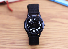 Boy gift simple canvas waterproof sports quartz watch multicolor girl watch men's electronic watch clear big number