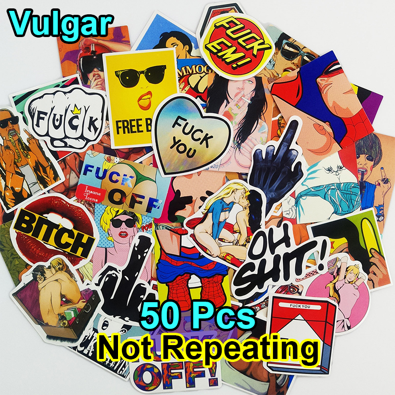 50 PCS Stickers Cartoon Mixed Skateboard Luggage Vinyl Decal Car Styling Laptop Bicycle Fridge Doodle Toy Styling DIY Sticker