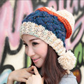 Cute Women's Thick Cable Multicolor Handmade Knit Beanie Ear Muff Warm Hat with Soft Pom Pom