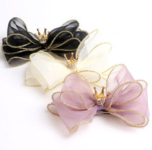 New Three-dimensional Organza Hair Bows Hair Accessories Princess Hair Clips Girls Flower Crown Hair Ornaments Rim Hairpin J45 недорого