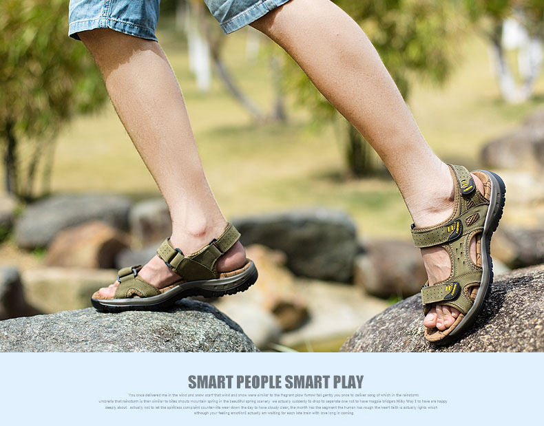 Hot Sale New Fashion Summer Leisure Beach Men Shoes High Quality Leather Sandals The Big Yards Men\`s Sandals Size 38-45 (18)
