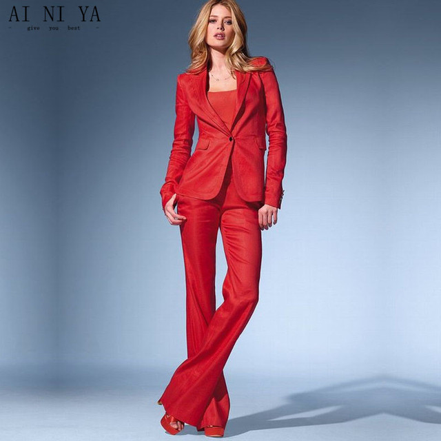 Red Womens Business Suits 2 Piece Set Blazer Formal Pant Suits For ...