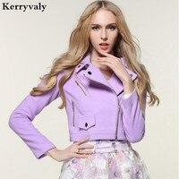 Korean Fashion Autumn Woman Jacket New 2016 Sweet Long Sleeve Woolen Coat Women Purple Short Outerwear