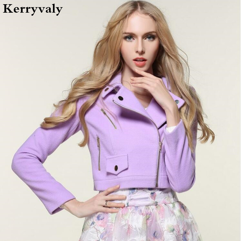 Korean Fashion Autumn Woman Jacket 2018 Sweet Long Sleeve Woolen Women Basic Coat Purple Short Outerwear Casacos Feminino 72895 ...