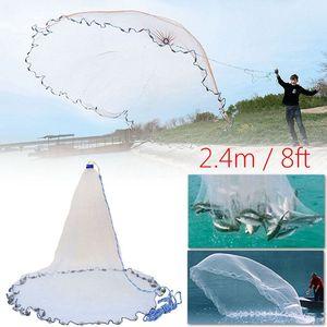 Image 2 - 8Ft 2.4 メートル漁網餌簡単スローハンドキャスト 3/4 インチの強力なナイロンメッシュ + シンカー