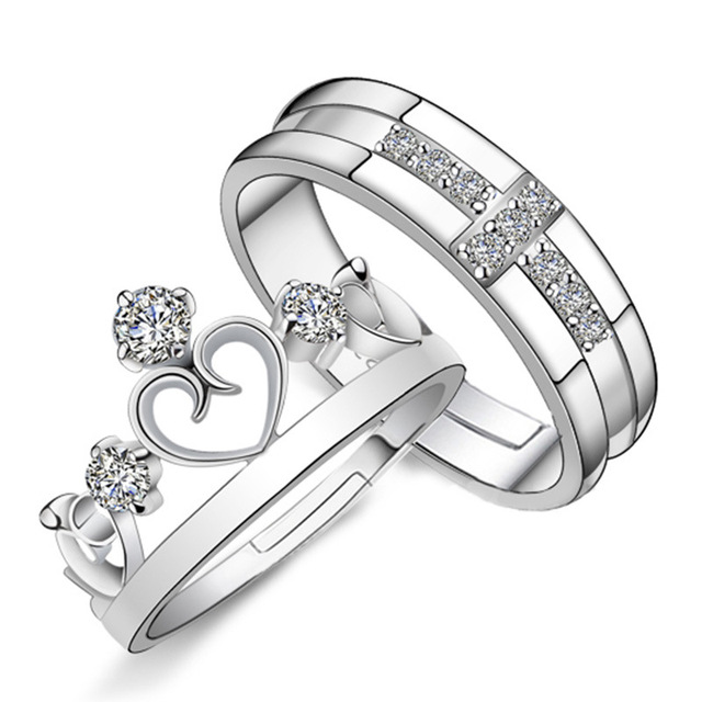 NEHZY 925 sterling silver new crown ring opening couple of high-quality fashion jewelry manufacturers, wholesale one pair