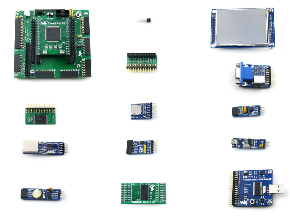 OpenEP4CE6-C Package A # EP4CE6-C  EP4CE6E22C8N  Cyclone IV ALTERA FPGA Development Board + 12 Accessory Modules Kits open3s500e package a xc3s500e xilinx spartan 3e fpga development evaluation board 10 accessory modules kits