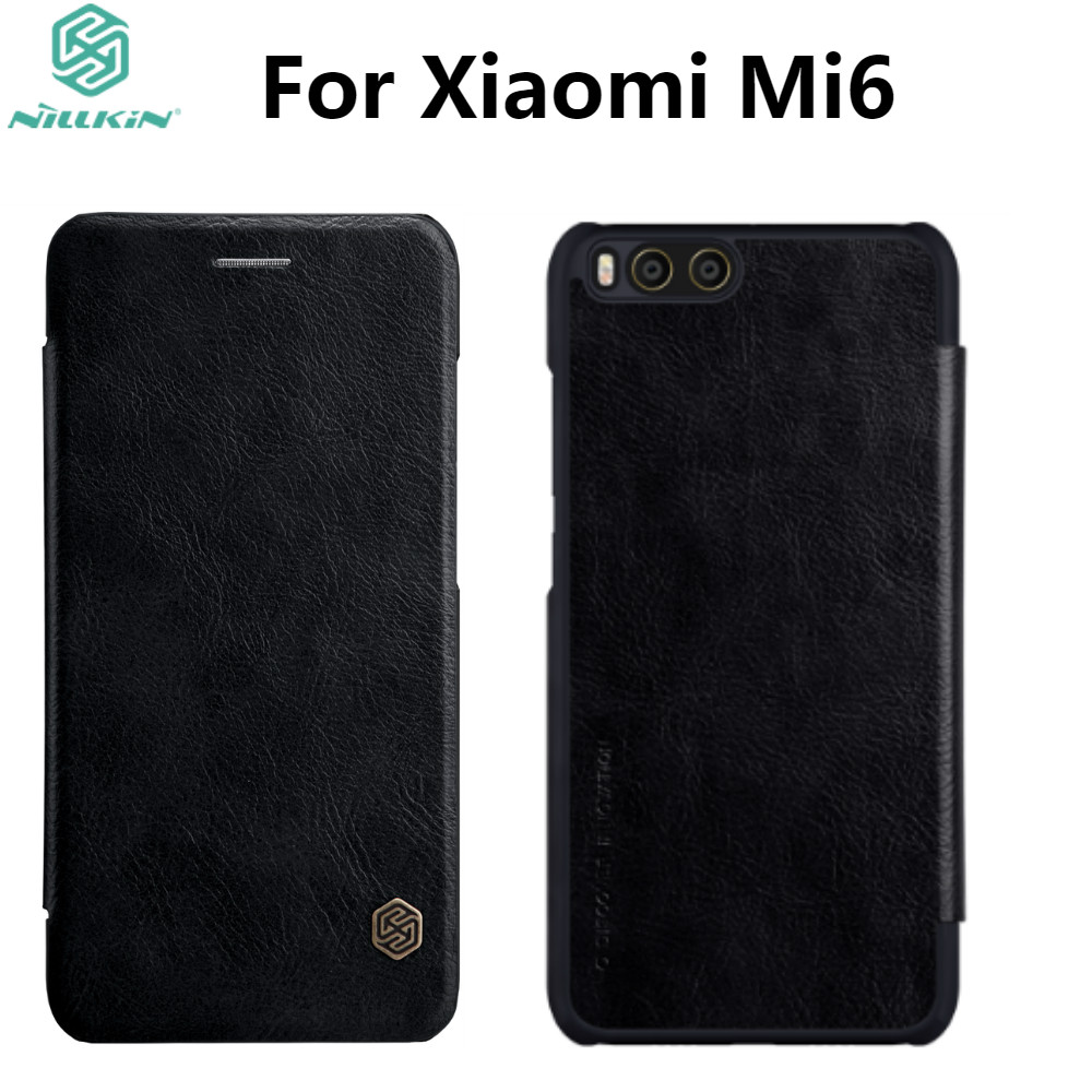 Leather Case For Xiaomi Mi6 NILLKIN Qin Series Wallet Flip Cover Case For Xiaomi Mi6 M6 Genuine Flip Leather Case Phone Cover