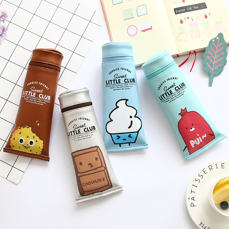 JIANWU Cartoon cute pencil bag  creative shape  toothpaste pencil case School Supplies household mouth shape 2pcs toothpaste squeezers