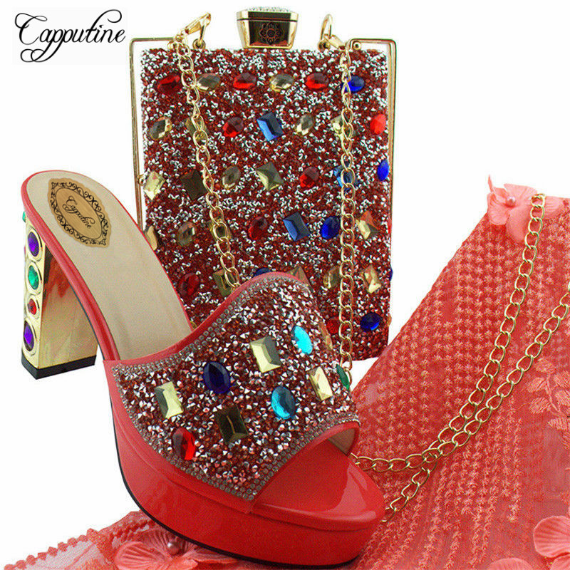 Capputine African Wedding Shoes And Bag Set Coral Color African Matching Shoes And Bags Set Italian In Women Free Shipping YD002