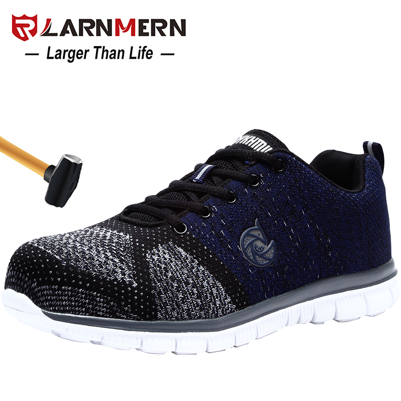 LARNMERN Men s Work Safety Shoes Steel Toe Lightweight Breathable Anti smashing Non slip Construction Protective