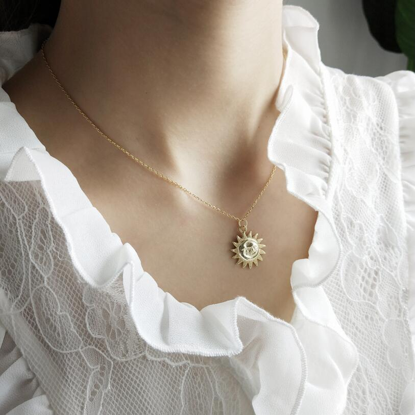 Gold Color Link Chain Sun Pendant Necklace Simple Chains Fashion Vintage Gift Jewelry 925 Sterling Silver For Women collier